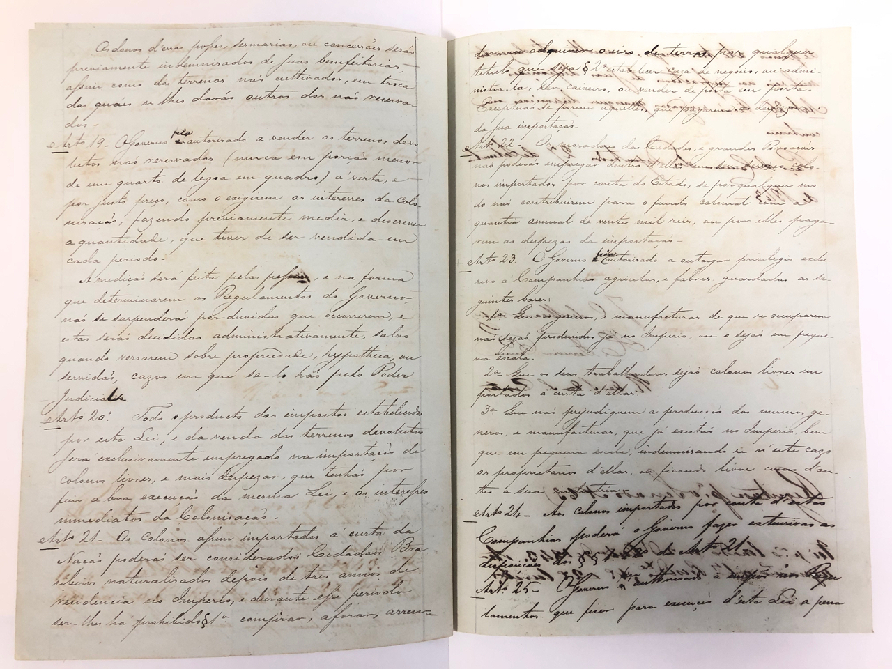 Draft of Brazil's 1850 Land Law - Historical Archive of the Chamber of Deputies